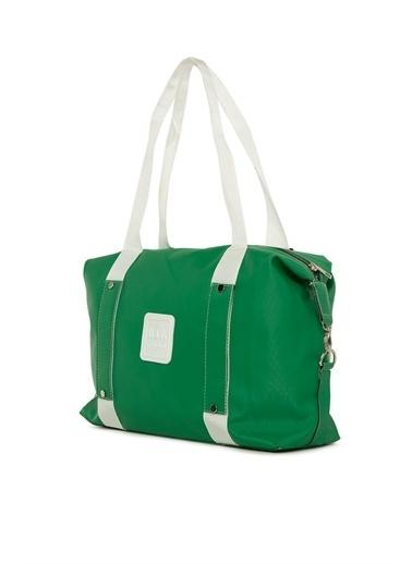 Bagmori  Kadın Kolon Detaylı Armalı Saten Çanta M000005996 Yeşil
